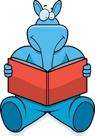 aardvark: A cartoon aardvark reading a book and smiling.