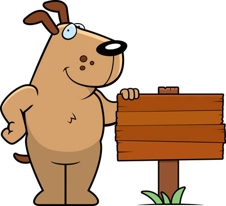A happy cartoon dog standing next to a wood sign. Illustration