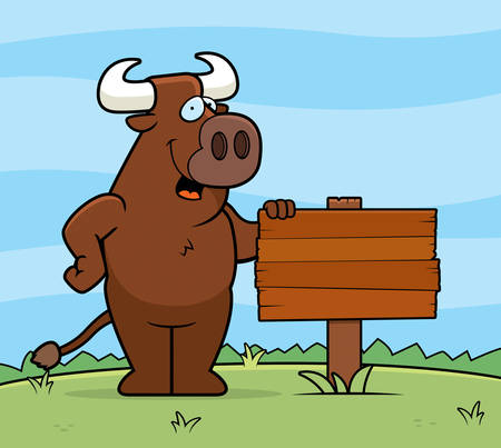 farm cartoon: A happy cartoon bull with a wooden sign.