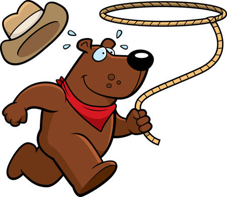 lasso: A happy cartoon rodeo bear running with a lasso.