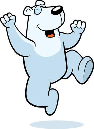 A happy cartoon polar bear jumping and smiling.