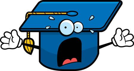 graduacion caricatura: Un casquillo de la graduaci�n de la historieta con una expresi�n asustada. Vectores