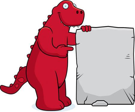 A happy cartoon dinosaur with a stone sign.  イラスト・ベクター素材
