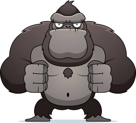 angry animal: An angry cartoon gorilla flexing his muscles.