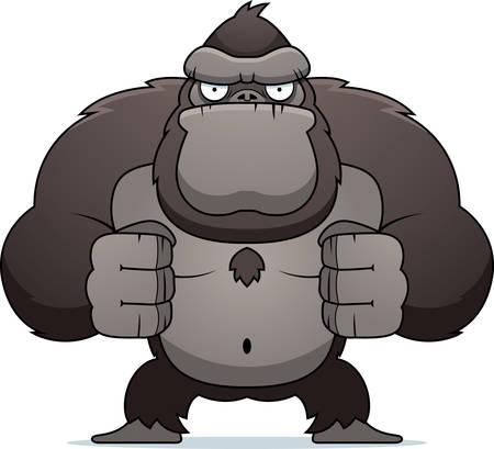 Een boze cartoon gorilla buigen zijn spieren. Stock Illustratie