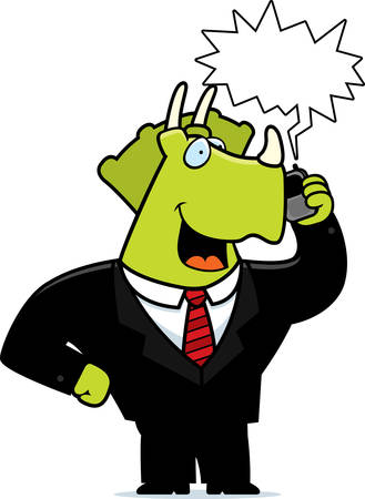 triceratops: A cartoon dinosaur in a suit talking on a cell phone. Illustration