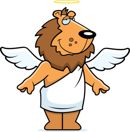 lion with wings: A happy cartoon lion angel with wings and a halo.