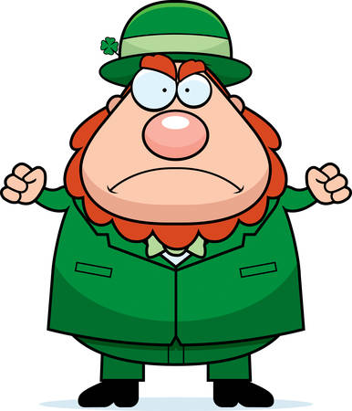 frowning: A cartoon leprechaun frowning and looking angry.