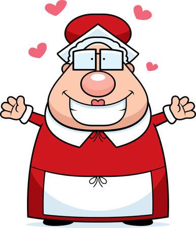 A happy cartoon Mrs. Claus ready to give a hug.