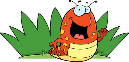 A happy cartoon caterpillar in the grass. Ilustrace