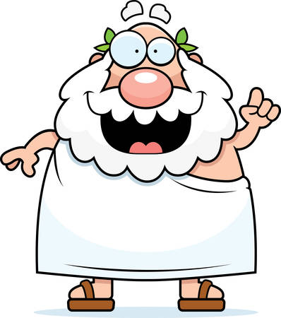 A happy cartoon Greek philosopher with an idea. Çizim