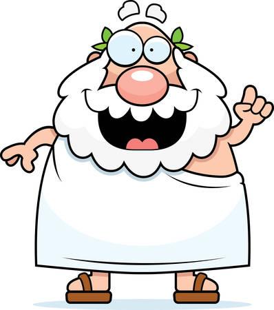 Een happy cartoon Griekse filosoof met een idee.