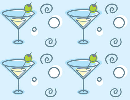 A cartoon martini glass seamless repeating pattern.