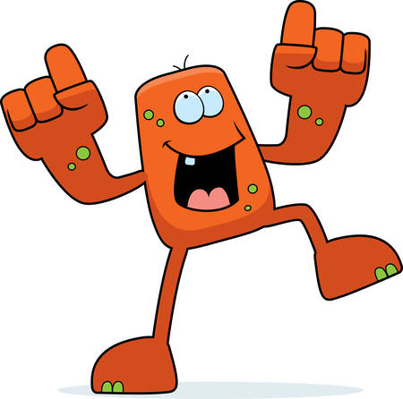 A happy cartoon monster dancing and smiling.