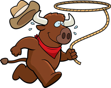 rodeo cowboy: A happy cartoon rodeo buffalo running with a lasso. Illustration