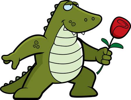 A happy cartoon alligator with a flower.