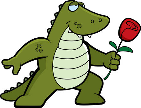 A happy cartoon alligator with a flower. Reklamní fotografie - 41887170