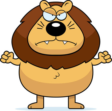 male lion: A cartoon lion with an angry expression.