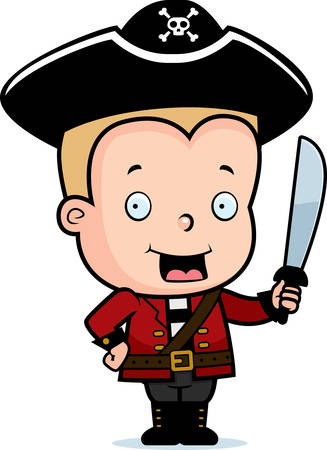 blonde boy: A happy cartoon child pirate holding a sword. Illustration