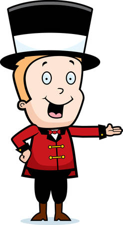 announcing: A happy cartoon child ringmaster smiling and presenting. Illustration