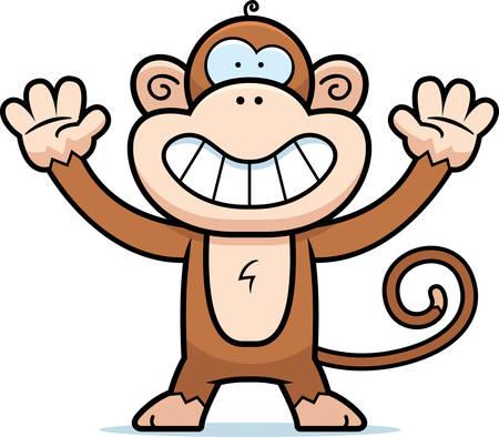mono caricatura: Un feliz de dibujos animados mono de pie y sonriente.