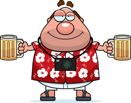 A happy cartoon tourist drunk with a couple beers. 일러스트