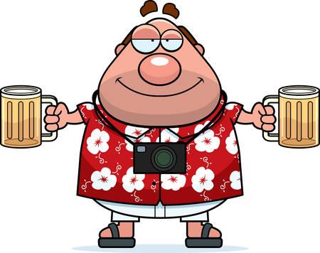 turista: Un turista cartone animato felice ubriaco con un paio di birre.