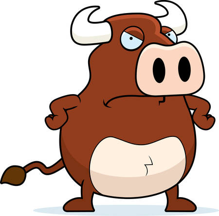 angry cartoon: A cartoon bull with an angry expression. Illustration