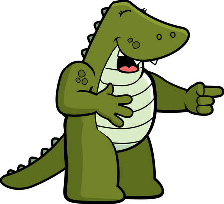 A happy cartoon alligator pointing and laughing.
