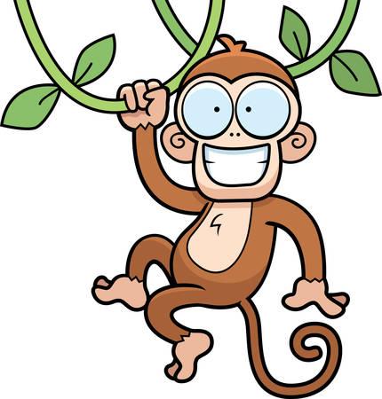 mono caricatura: Un mono de dibujos animados colgando de lianas y sonriente.