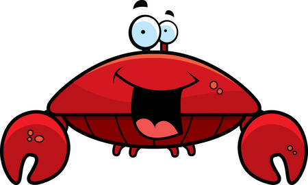 A cartoon red crab smiling and happy.