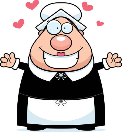 bonnet illustration: A happy cartoon pilgrim woman ready to give a hug. Illustration