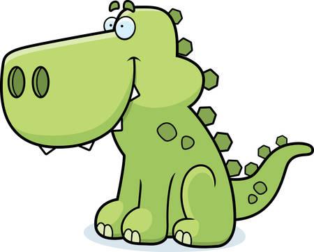 dinosaurio caricatura: Un dinosaurio de dibujos animados feliz sentado y sonriente.