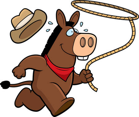 lasso: A happy cartoon rodeo donkey running with a lasso. Illustration