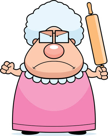 rolling: A cartoon grandma with an angry expression. Illustration