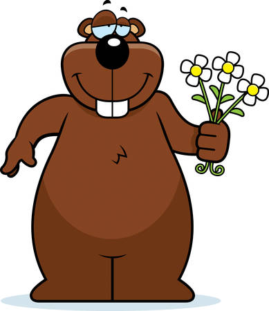 gopher: A happy cartoon gopher with a bouquet of flowers. Illustration