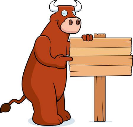 cartoon cow: Un toro de dibujos animados feliz con un signo.