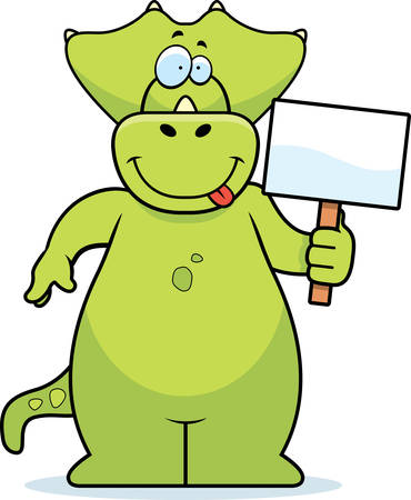 triceratops: A happy cartoon dinosaur with a sign.