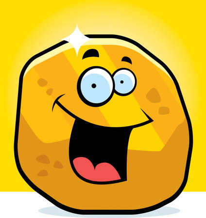 A cartoon gold nugget smiling and happy.