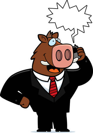 obnoxious: A cartoon boar in a suit talking on a cell phone. Illustration