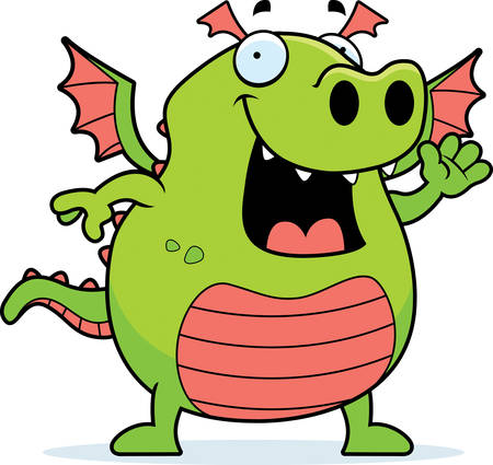 A happy cartoon dragon waving and smiling. Ilustrace