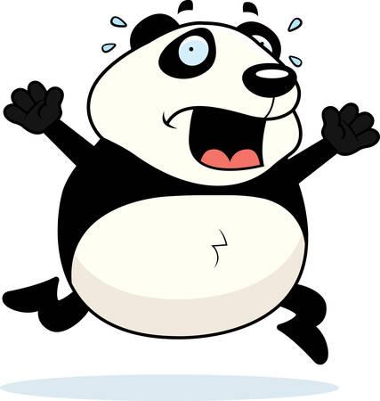 A cartoon panda running in a panic.