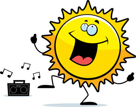 A happy cartoon sun dancing and smiling.