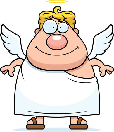 A happy cartoon angel with wings and a halo. Stock Illustratie