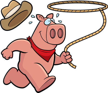 pig cartoon: A happy cartoon rodeo pig running with a lasso.