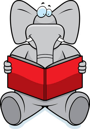 A cartoon elephant reading a book and smiling.