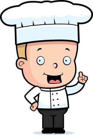 chef caricatura: Un cocinero feliz niño de dibujos animados de pie y sonriente.