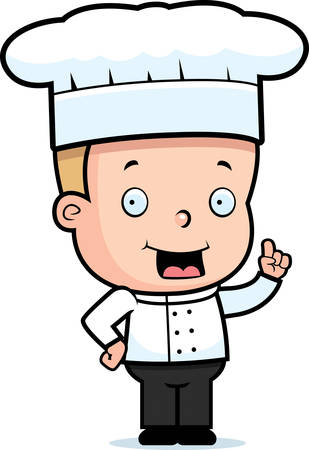 A happy cartoon child chef standing and smiling. Illustration