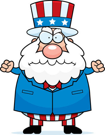 grouchy: An angry cartoon patriotic man frowning and looking upset.