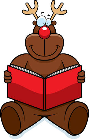 A cartoon reindeer reading a book and smiling.